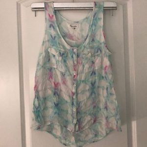Multicolor button up tank top